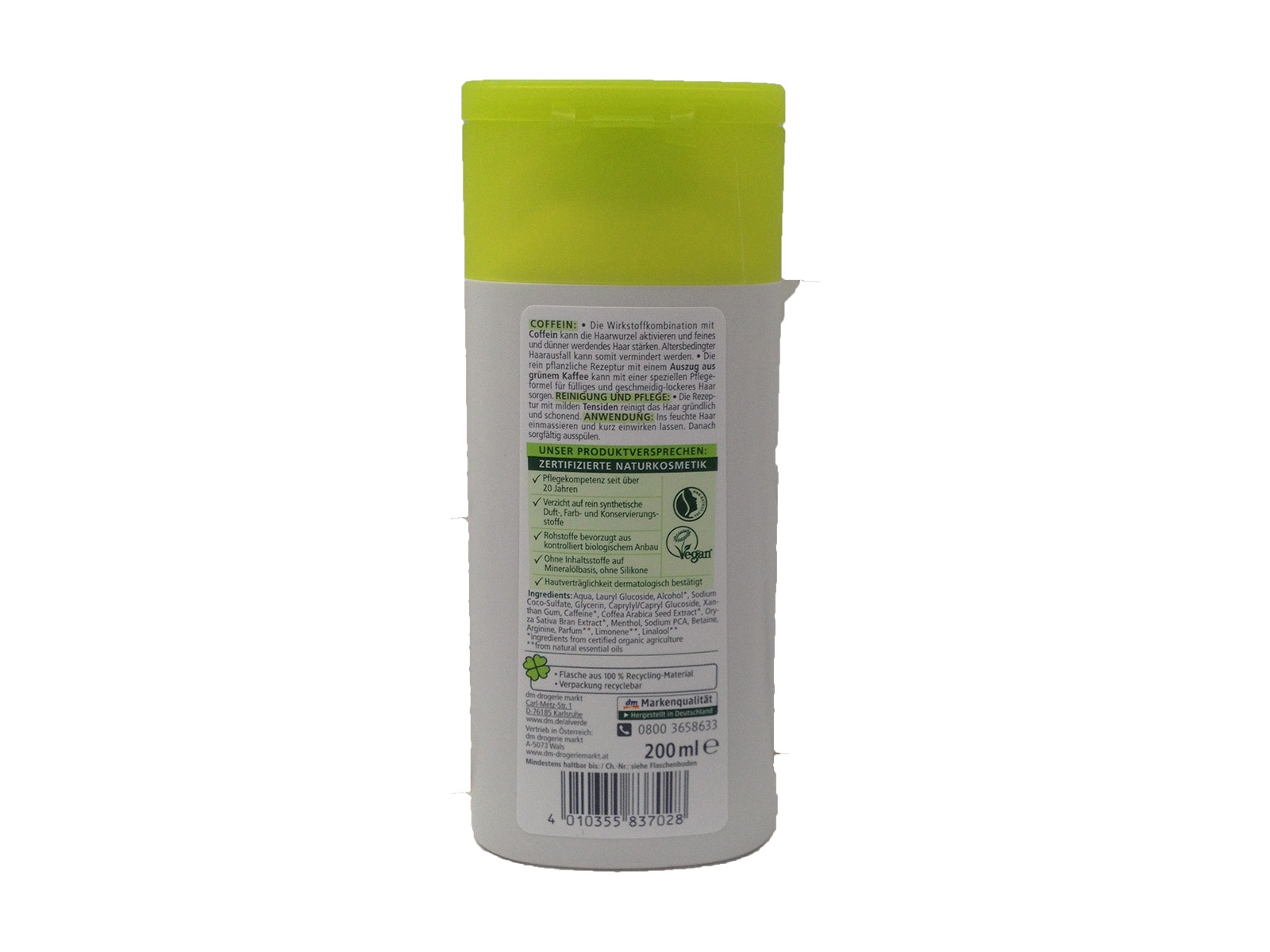 Alverde Coffein Shampoo Grüner Kaffee
