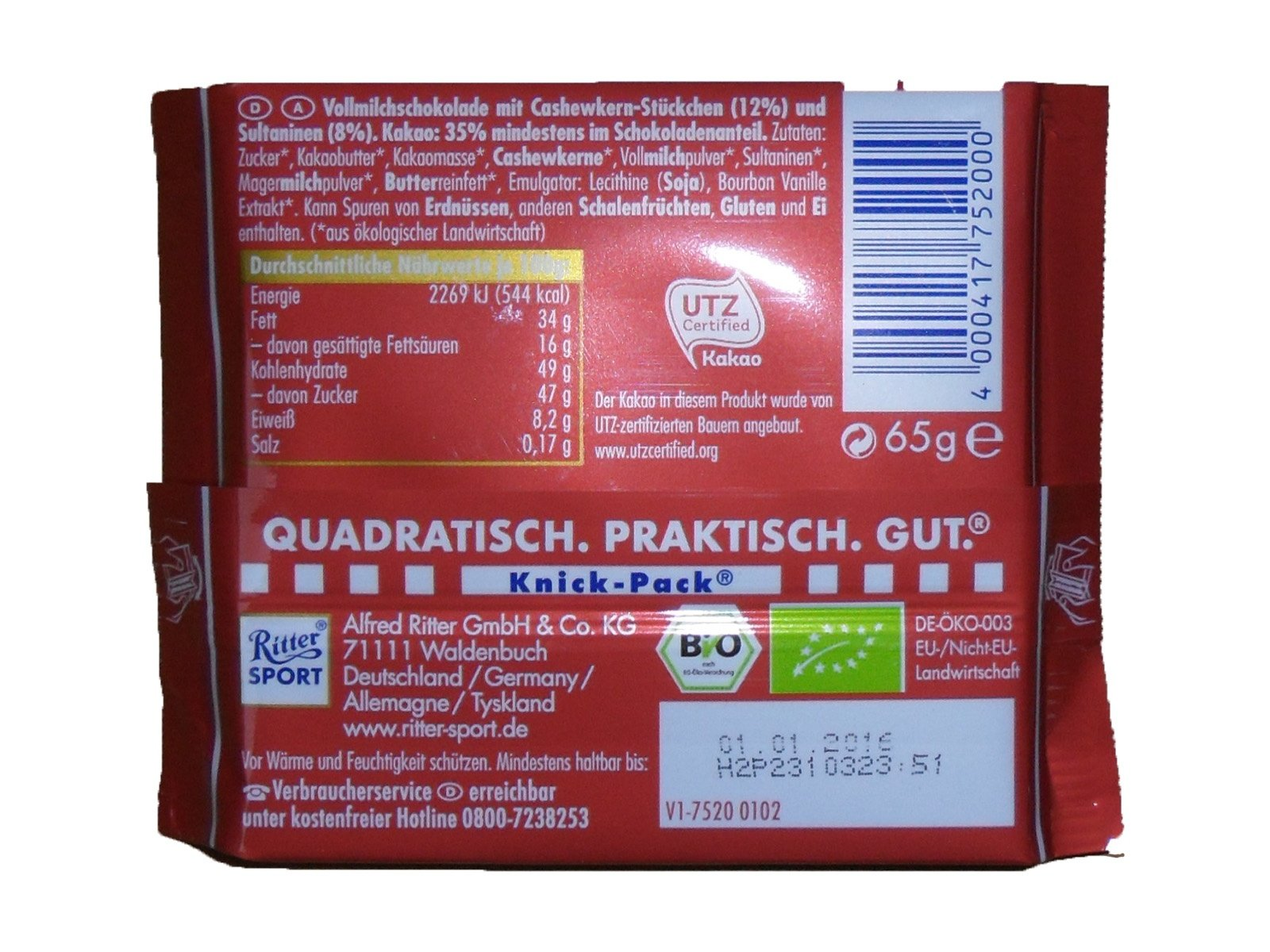 Ritter Sport Trauben-Cashew Bio