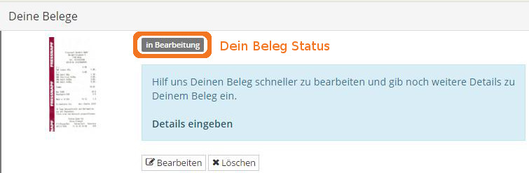 status in Bearbeitung